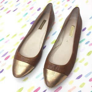 Louise et Cie Abruzzo Flats brown gold 9.5 leather